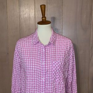 A New Day Pink and White Gingham Blouse  Size XL